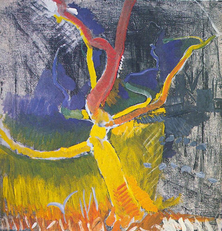 Mimosa auf gelber Ebene, Öl auf Leinwand, , 81 x 79 cm, 1972
