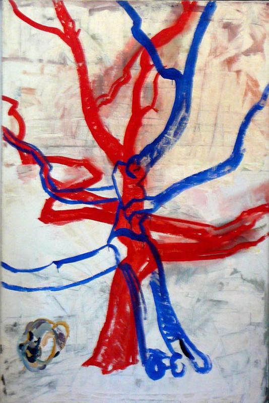 Komposition in Blau und Rot mit Katze
