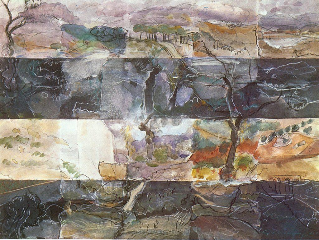 Aquarell aus 20 Einzelbildern, 57 x 77 cm, 1979