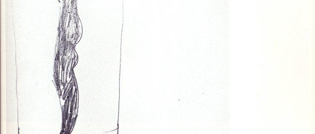 Erste Skizze zu den Kistenmenschen, Bleistiftzeichnung