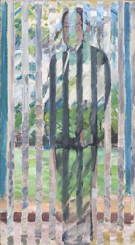 Von Natur erfüllt, Portrait Rudolf Z im Garten in Aussee, 180 x 100 cm, 1998