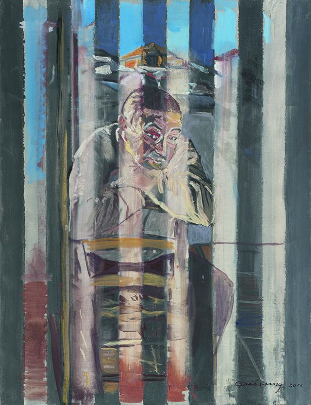Antonio Becerra auf der Bühne, Öl auf Leinwand, 116 x 89 cm, 2011